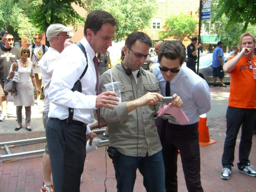 Tim DeKay (left) and Matt Bomer (right) behind the scenes on the set of White Collar.