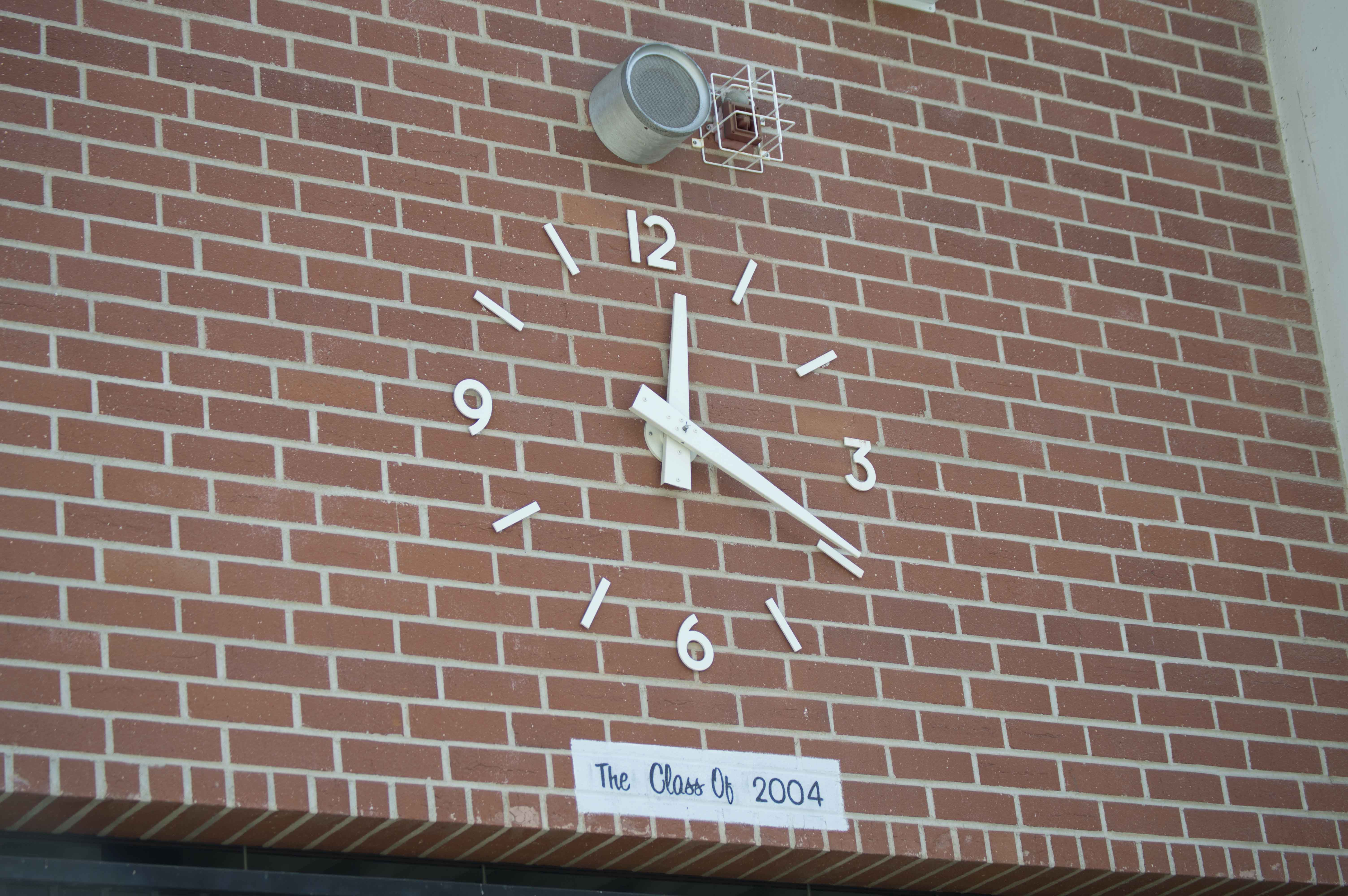The clock in the amphitheater stopped Sept. 15 due to the 15 minute power outage and was finally fixed Sept. 17.
