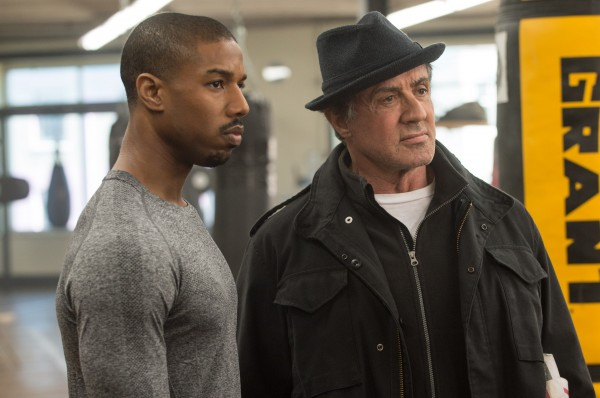 Sylvester Stallone and Michael B. Jordan in a still from 'Creed'