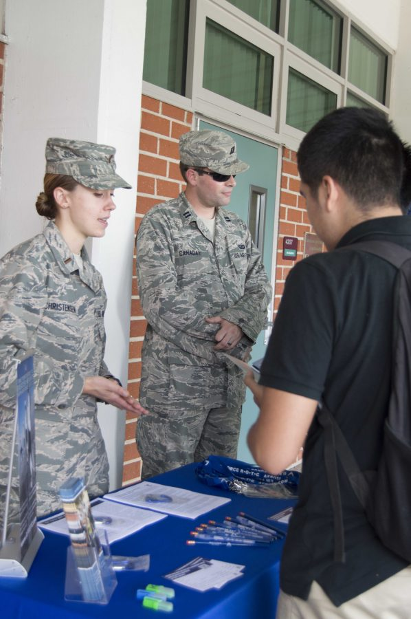 Military recruits visit Clark often to enlist future cadets.