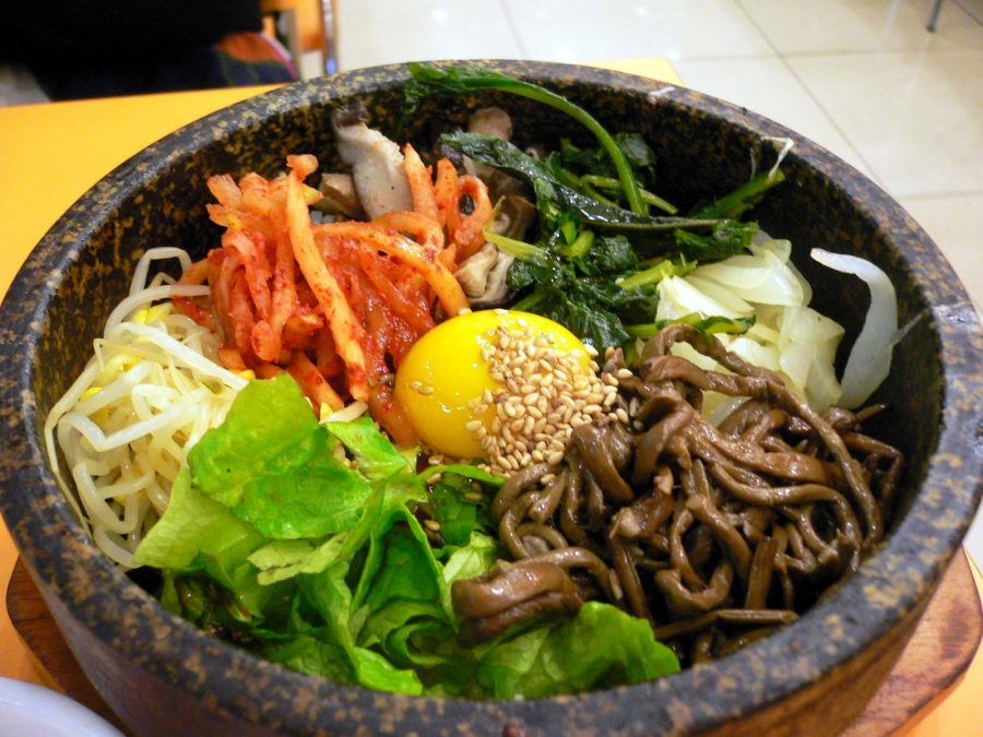 A traditional Korean dish known as bibimbap.