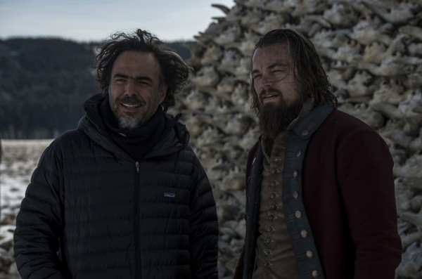 Two cinematic geniuses stand beside each other on the set of 'The Revenant.' DiCaprio won best actor, Iñárritu won best director, and the film was awarded best picture.