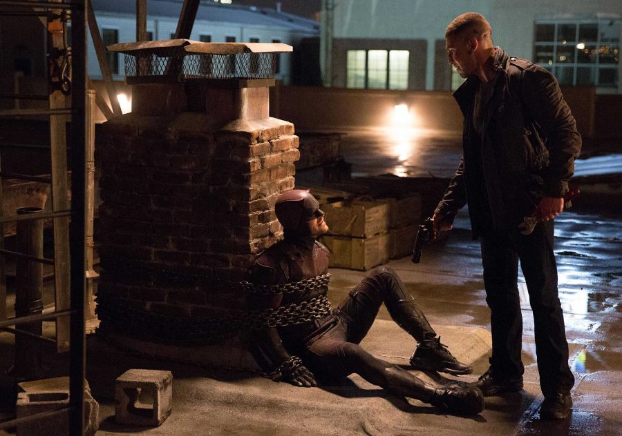 The Punisher (Jon Bernthal) has Daredevil (Charlie Cox) right where he wants him.