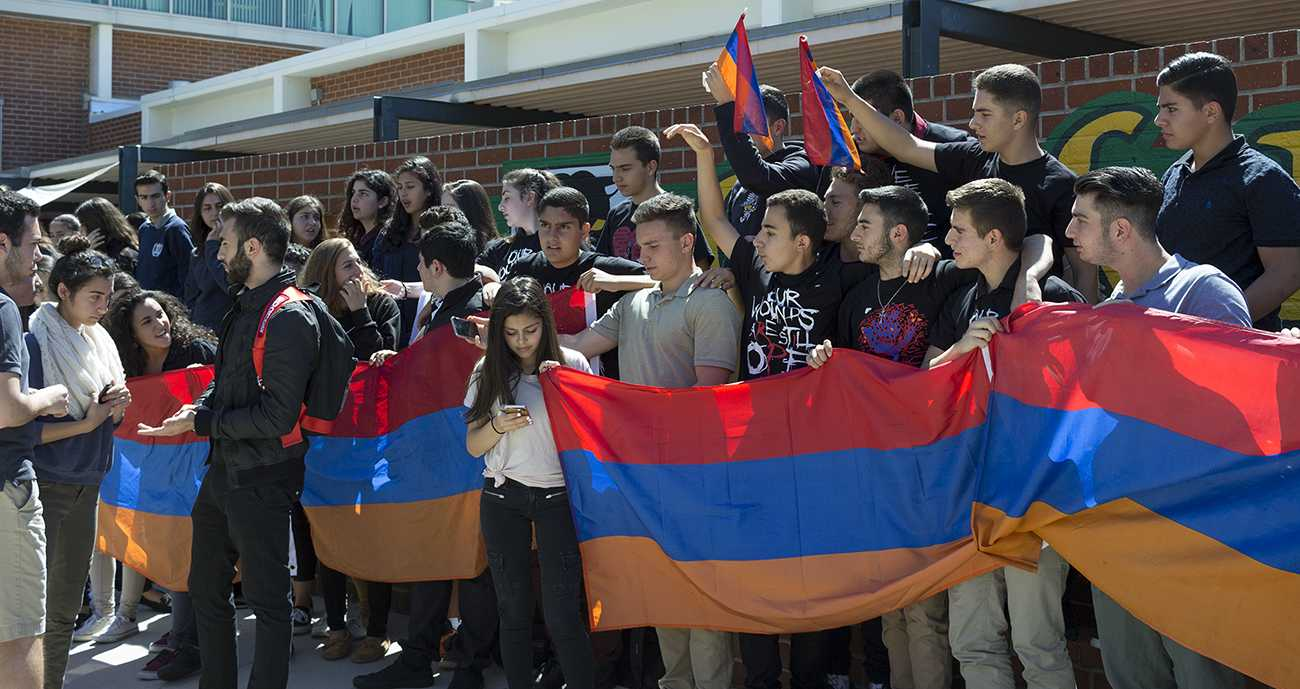 Armenian students participate in a silent protest.