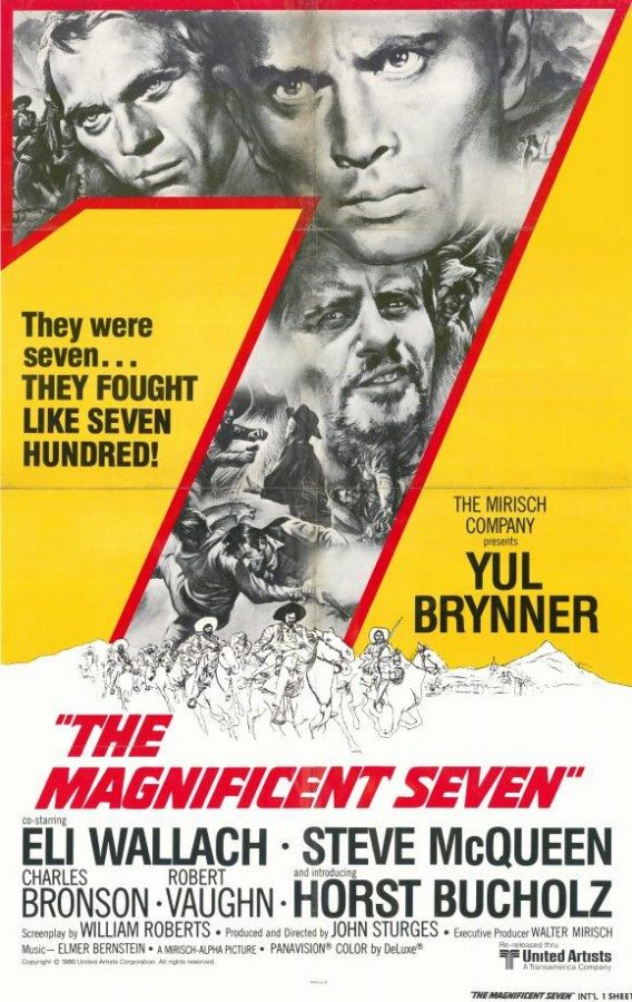 The+original+poster+of+the+beloved+classic+%27The+Magnificent+Seven.%27+The+remake+will+star+Denzel+Washington%2C+Ethan+Hawke%2C+and+Chris+Pratt.+