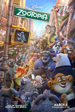 The official movie poster for Zootopia.