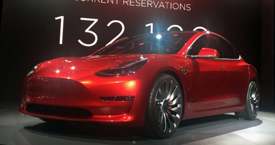 The+Tesla+Model+3+at+the+unveiling+in+Southern+California+on+March+31%2C+2016.+