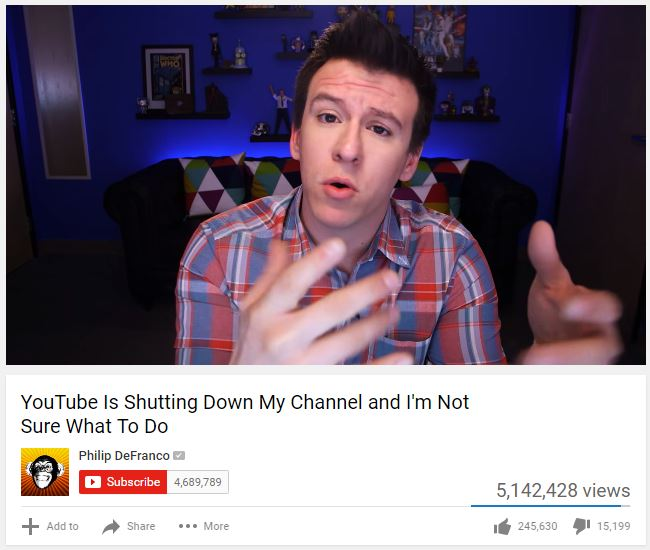 Youtuber Philip DeFranco discusses his opinion in this video