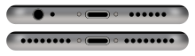 A comparison of the iPhone 6 (pictured above) and the iPhone 7 (below). The iPhone 7 is thinner and lacks the headphone port.