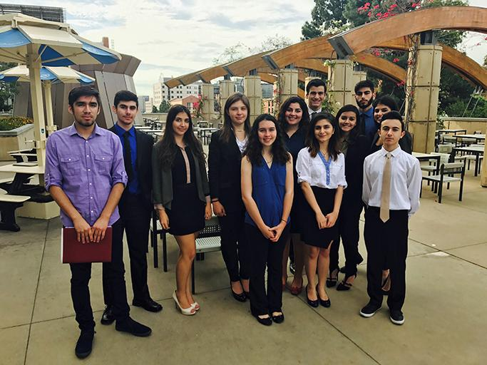 Model UN club members: Christian Flores, Allen Khudaverdyan, Erika Hookasian, Samantha Dominguez, Madalynn Carr, Nare Agakhanyan, Melanie Mesropian, Anni Zeynalvand, Derick Ambarsoomzadeh, Tinisha Sakhrani, Norik Margaryan, and Mikayel Sughyan at the competition at UCLA.Model