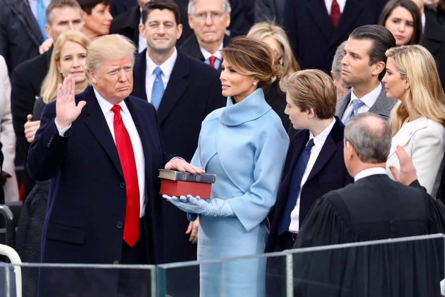 Donald J. Trump taking his oath at inauguration.