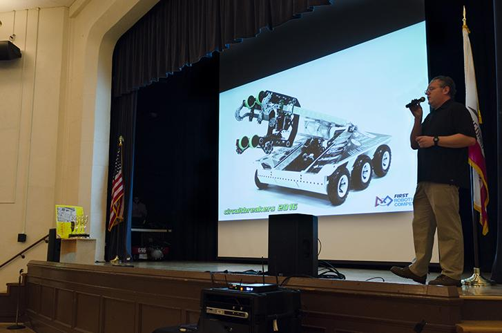 David Black presents Banshee, Team 696's robot, from the 2015 to 2016 school year.