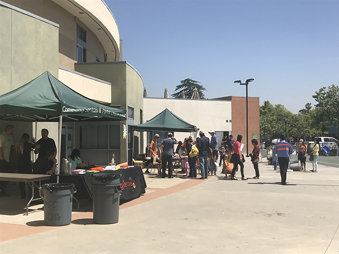 The tents set up outside the Pacific Park Center.