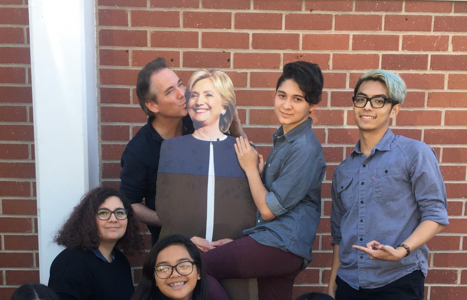 Mr. Over poses with Hilary Clinton, Liam McEvoy, Jarred Lima, Mary Vardanyan, and Sophia Arlantico.
