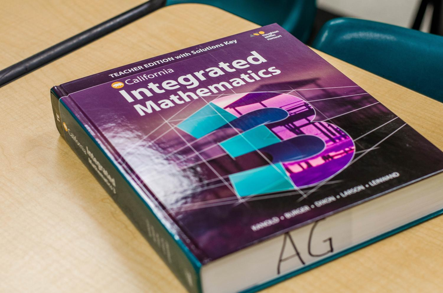 Math textbook that teachers are planning to use for the new course, Integrated Math 3.