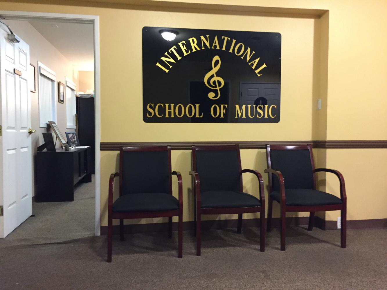 The waiting room at the International School of Music in Glendale.