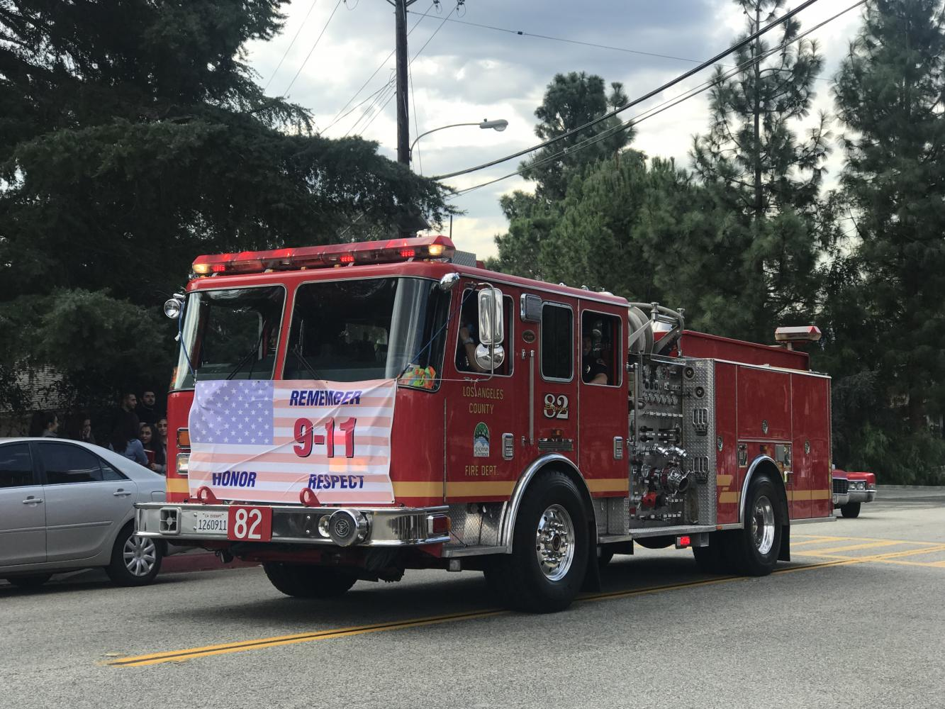 The Los Angeles Fire Department drives around La Crescenta to help remember 9/11.
