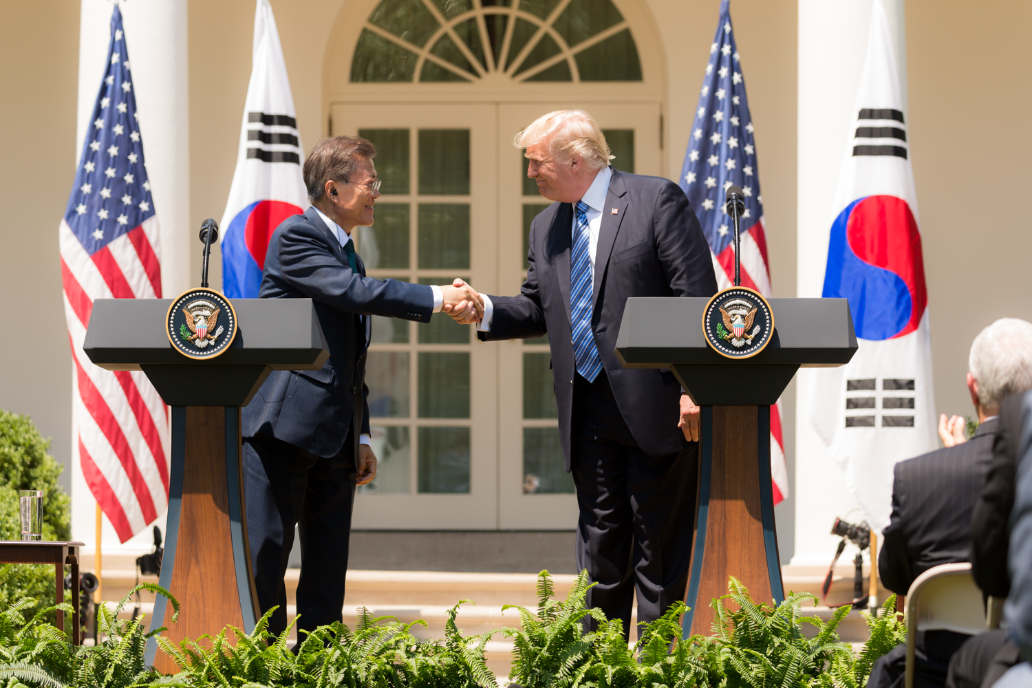 President Trump reassuring South Korean President Moon that the U.S. will always stand by South Korea