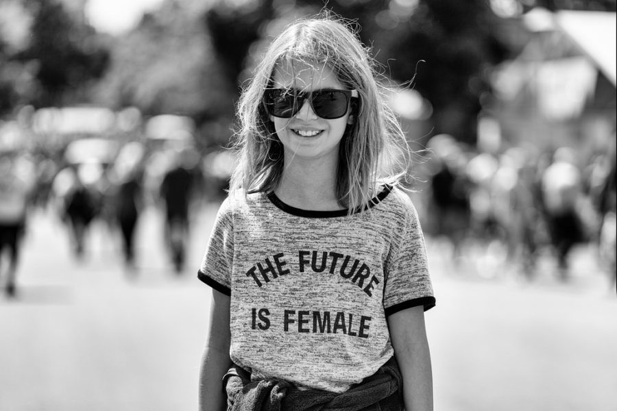 %3A+A+little+girl+sports+a+%22The+future+is+female%22