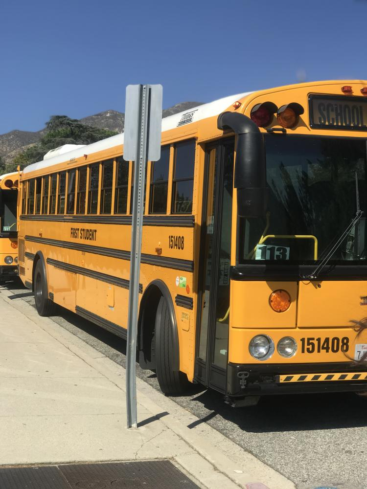 Many of the school buses were overflowed due to the amount of students.