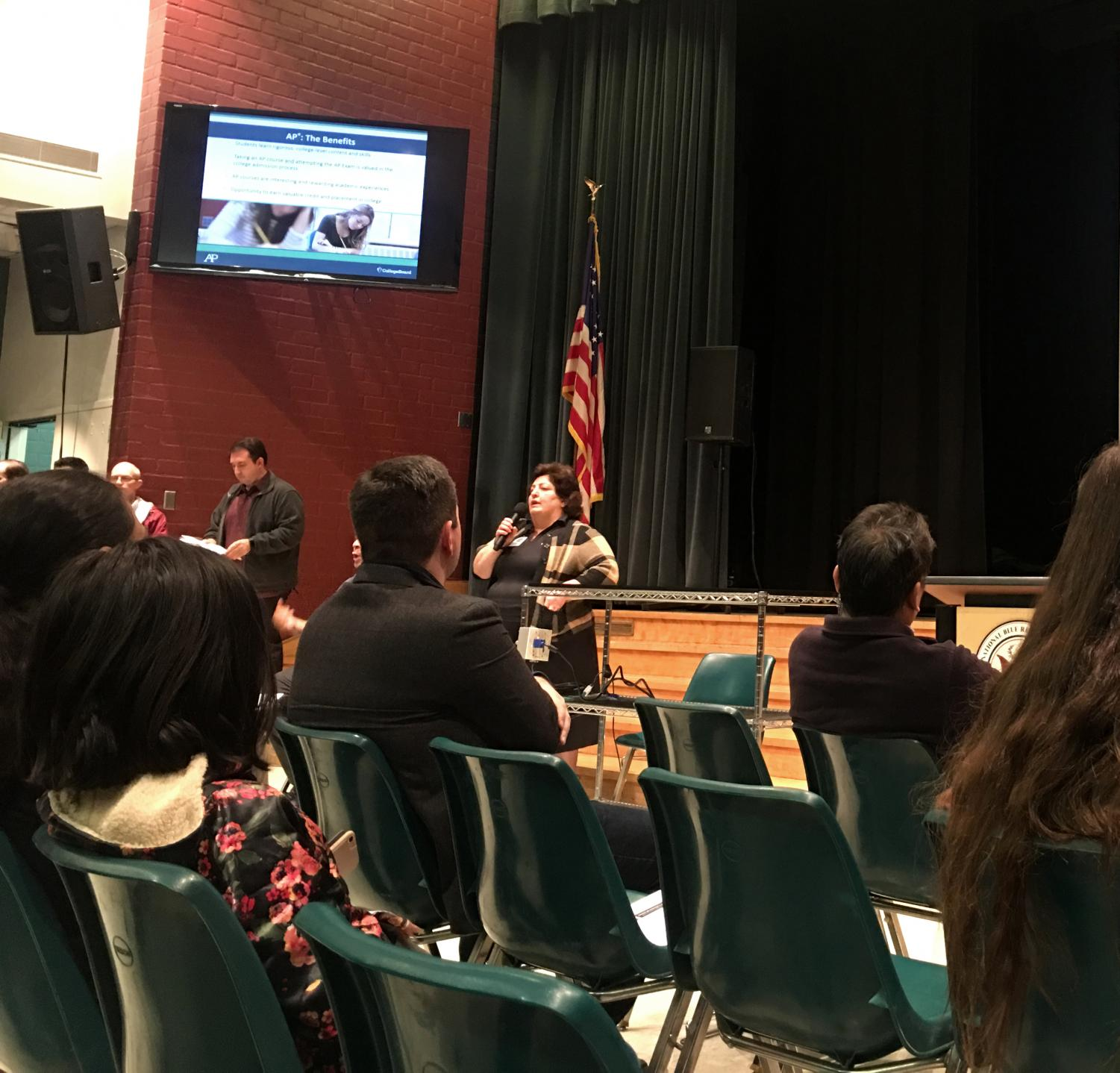 Counselor Karine Turdjian speaks to parents about AP.