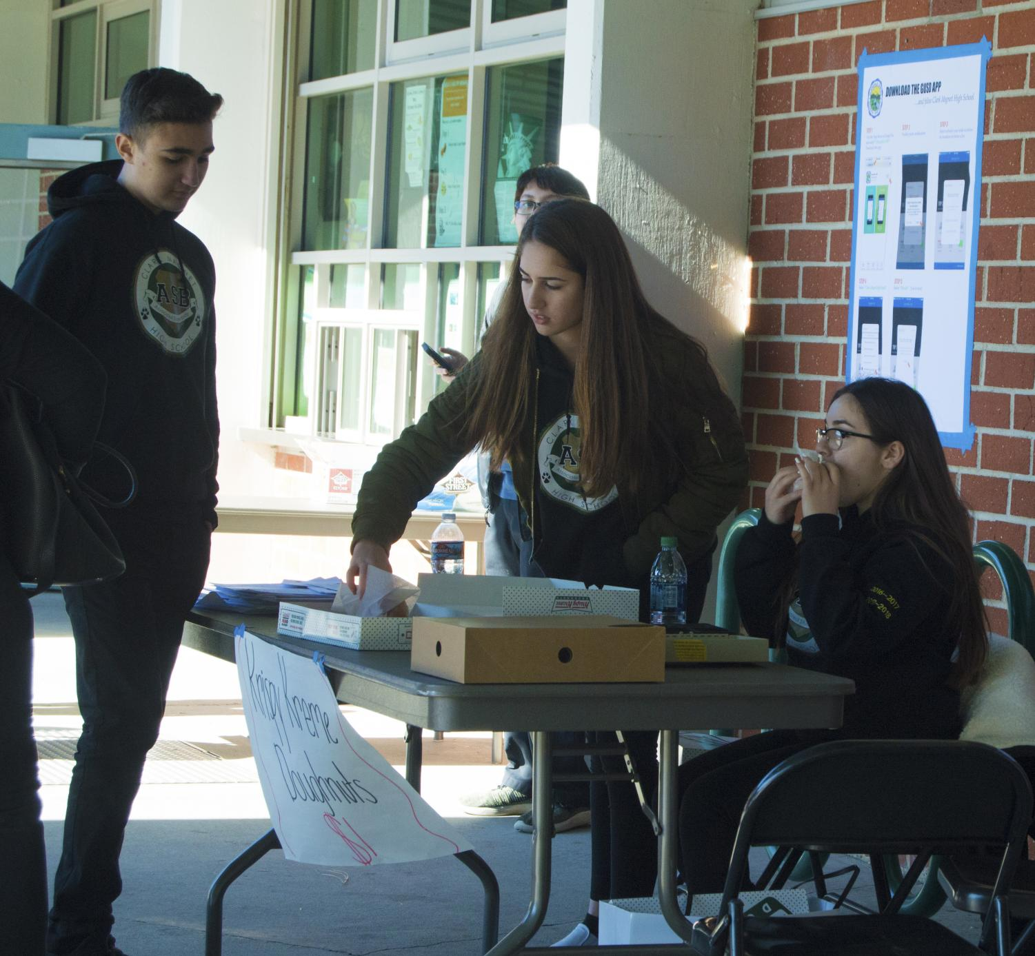 Clark students set up for the expo.