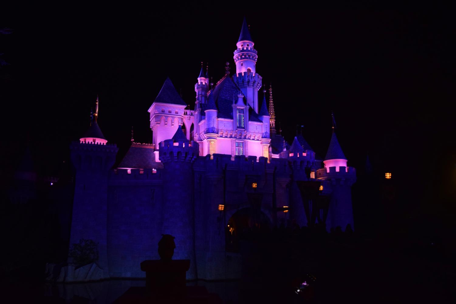 Sleeping Beauty's castle lights up the night during Clark's first Disney trip.