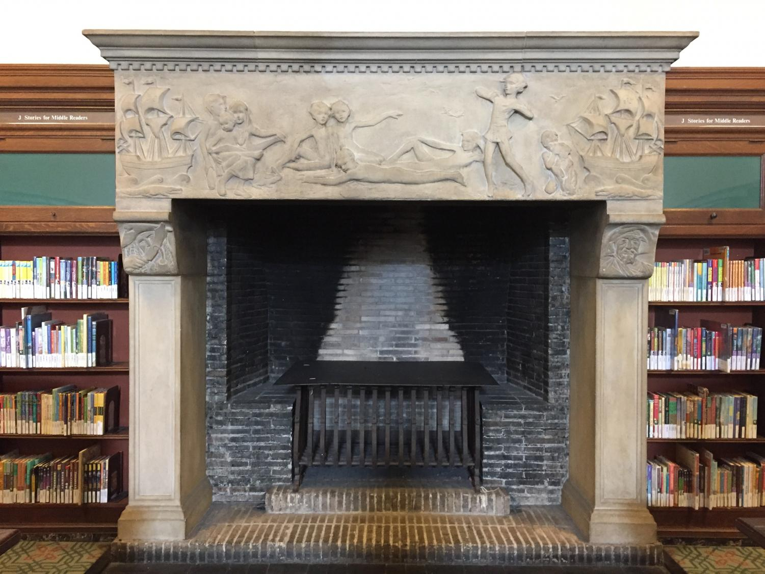 The Peter Pan inspired fireplace provides a welcoming and cozy entrance to the Children's Wing.