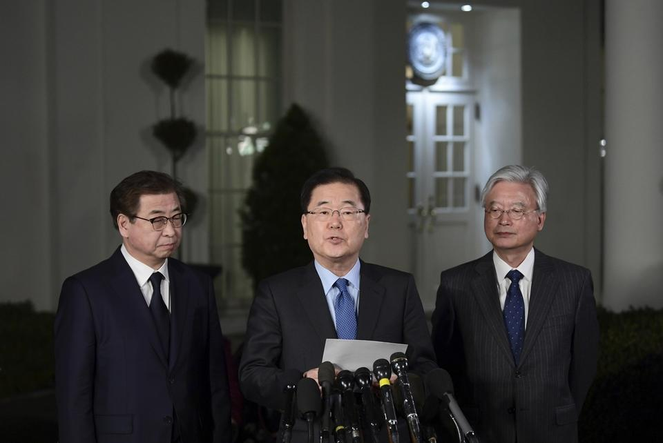 South Korean National Security Advisor Chung Eui-yong briefs the press on his meeting with President Trump.