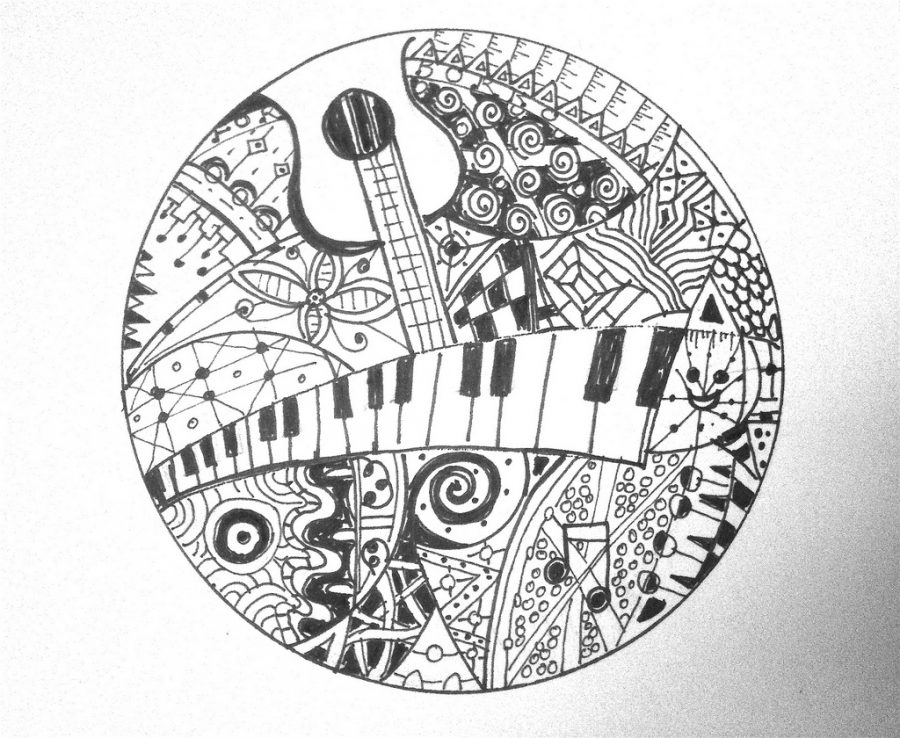 A doodle of musical instruments