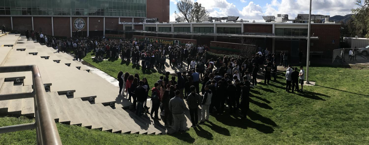 Students pour out of the halls to participate in the nationwide protest.