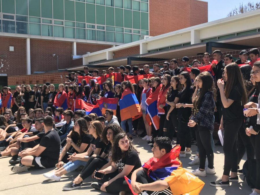 Students gather to silently protest for Armenian Genocide Recognition.