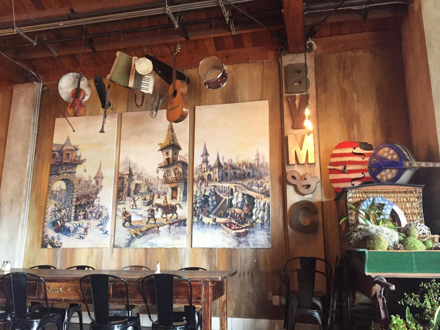 Bon Vivant's rustic look is complete with hanging musical instruments.