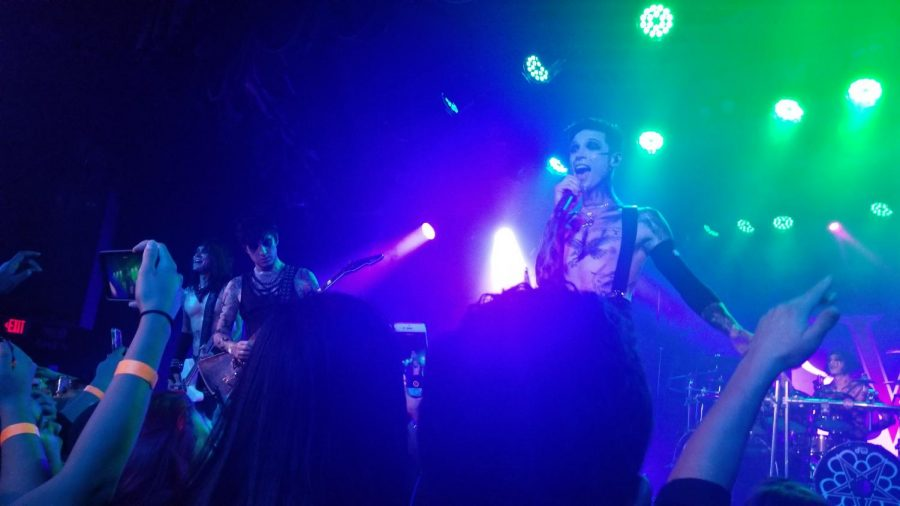 Andy Biersack, the band's vocalist, sings to the crowd during the band's third and final show at the famous Roxy Theatre.