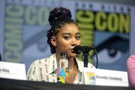 Amandla Stenberg, the star of The Hate U Give, at a press conference at the San Diego Comic Con.