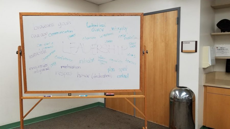 Teens+attending+the+workshop+had+the+chance+to+add+words+which+described+leadership+to+the+whiteboard.