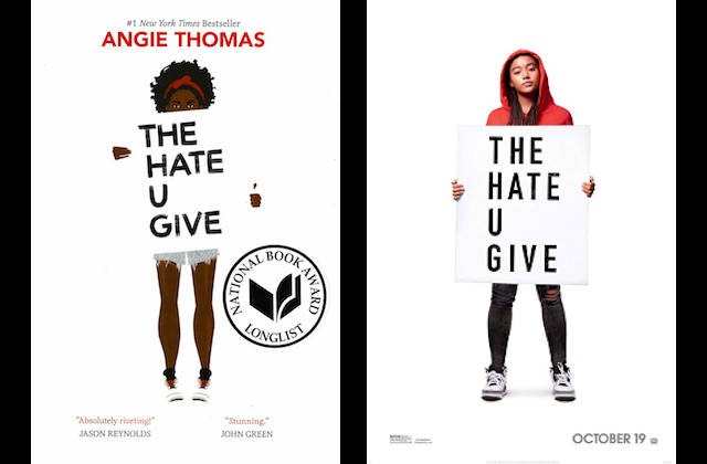 The+book+cover+and+promotional+poster+for+%27The+Hate+U+Give.%27