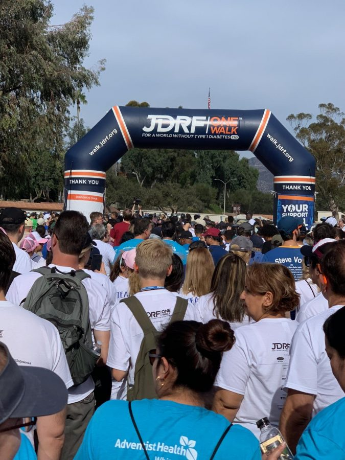 The beginning of the walk. Participants passed through a starting point to initiate the beginning of the walk.