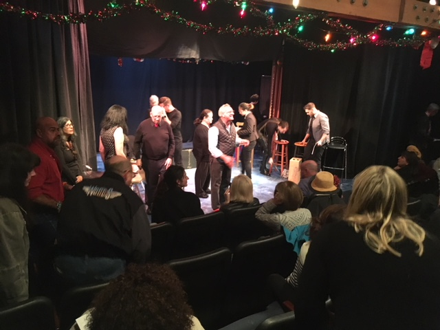 The cast of AIDS Us return to the stage for an after the show Q&A.