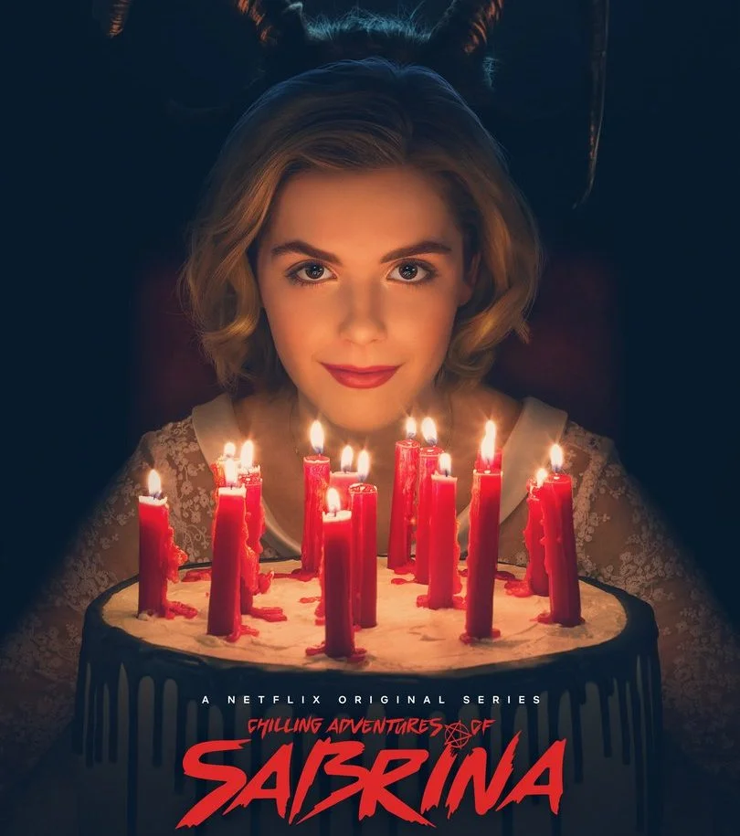 The promotional poster for  'The Chilling Adventures of Sabrina' featuring Kiernan Shipka who stars as Sabrina.