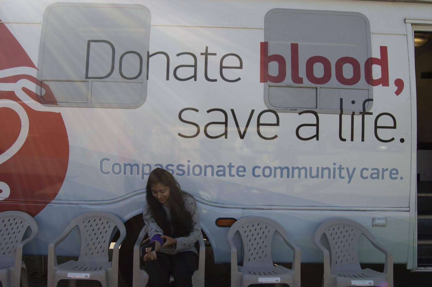 The Huntington Hospital mobile blood drive parks right outside the P.E. building.