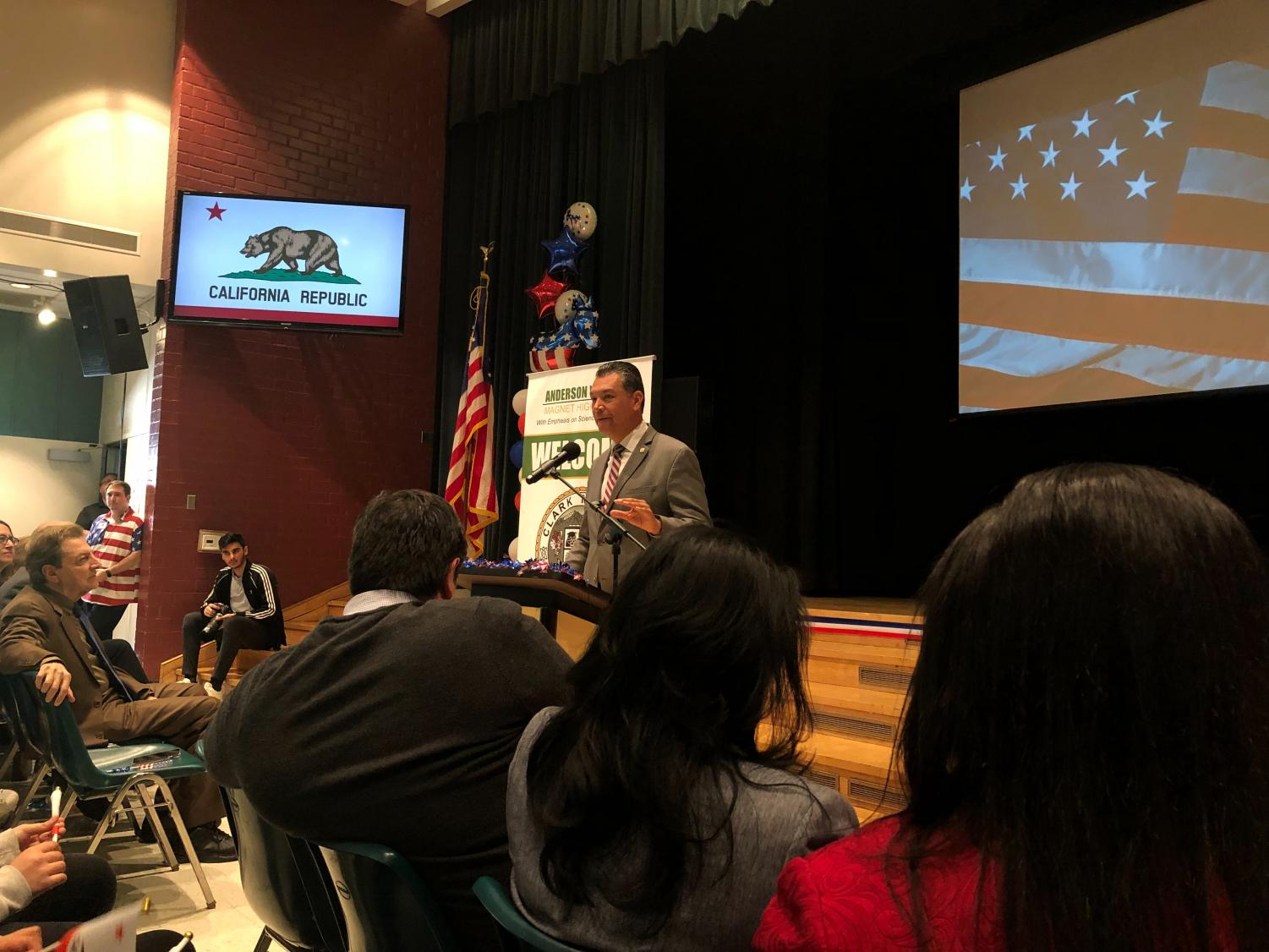 Alex Padilla gives a speech regarding teen voter registration.