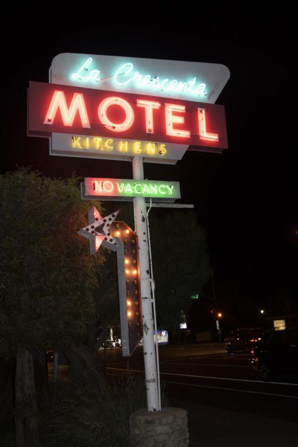 The sign for the La Crescenta Motel where the capstone was filmed.