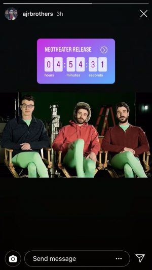 AJR teases the release of the album just a few hours before its release on their Snapchat account.