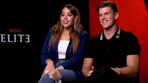 Miguel Bernardeau (Guzmán) and Danna Paola (Lucrecia) being interviewed for the new season.
