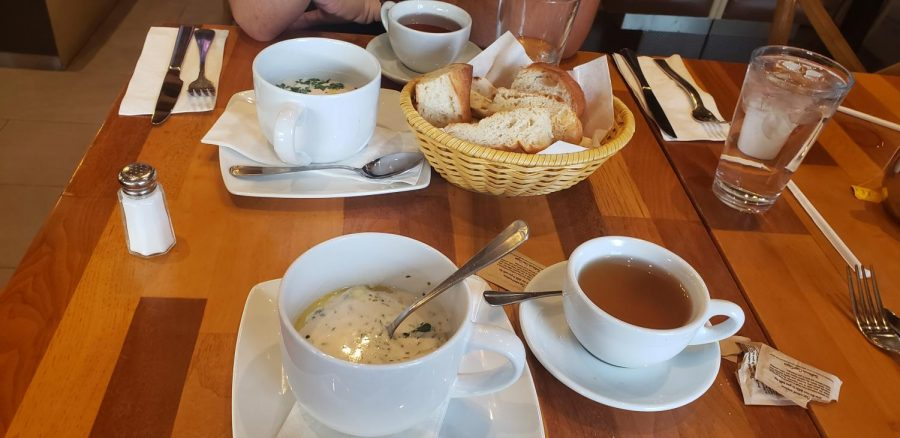 Karas serves a wide variety of ethnic soups like spas and borscht.