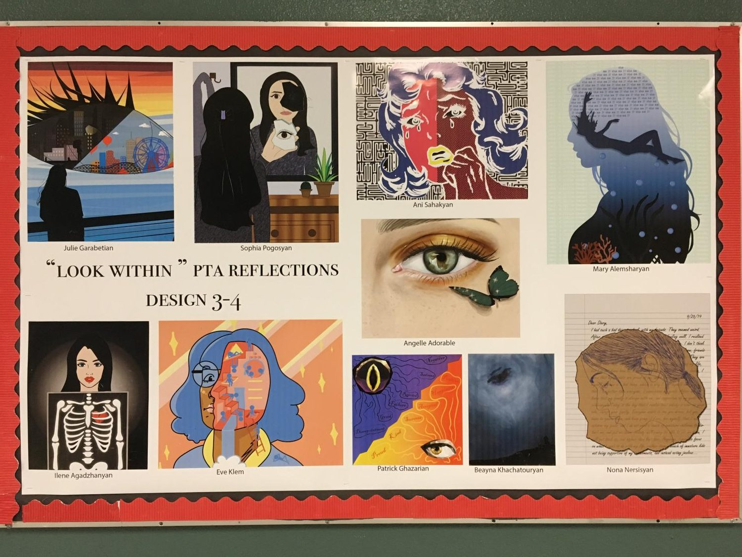 A collage of entries for the Reflections program from Nersisyan's class. Her entry can be seen at the bottom right.