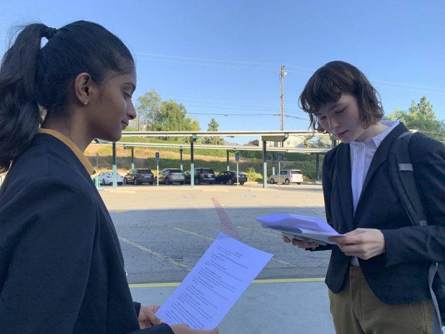 Sophomore Shirley Putti and Senior Audrey Byrd practiced their lines before the competition to ensure a strong and well-executed performance.