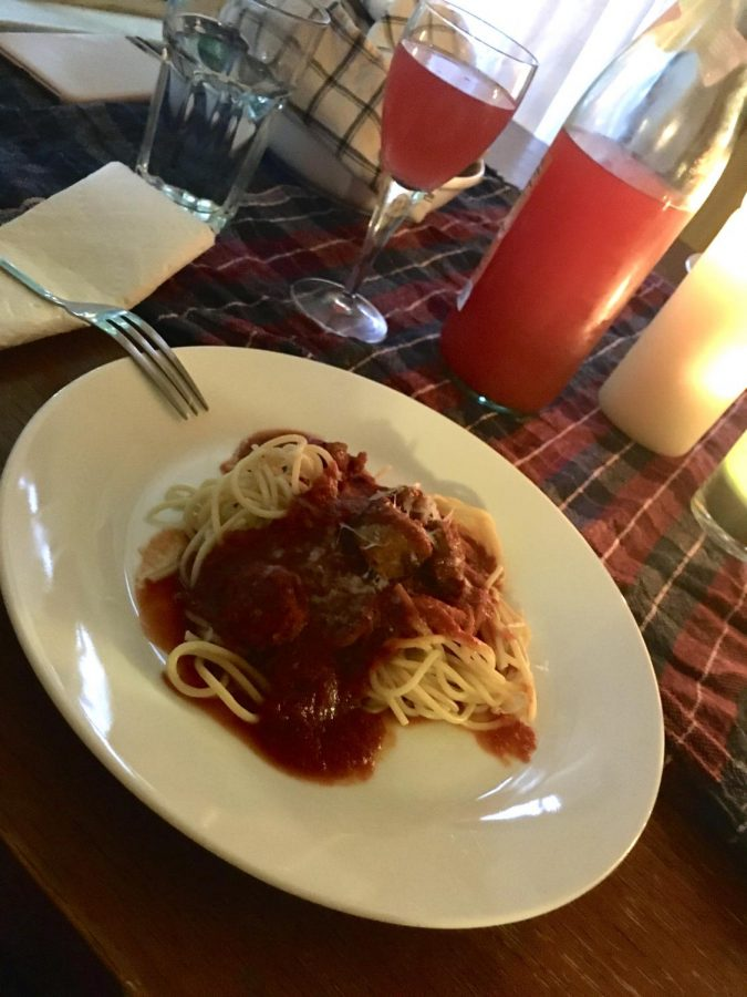 Spaghetti and red sauce, the final product of Friday's cooking and the main dish for the dinner party.