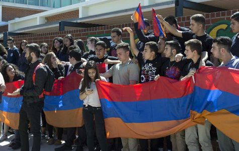 Students rally at Clark Magnet High School for Armenia in 2016.